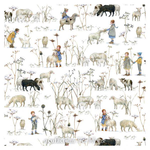 Baumwollstoff von Acufactum der Designerin Daniella Drescher winterkinder und Schafe