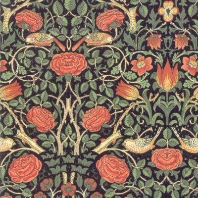 Ein Nachdruck des Jugendstilstoffs Rose von William Morris
