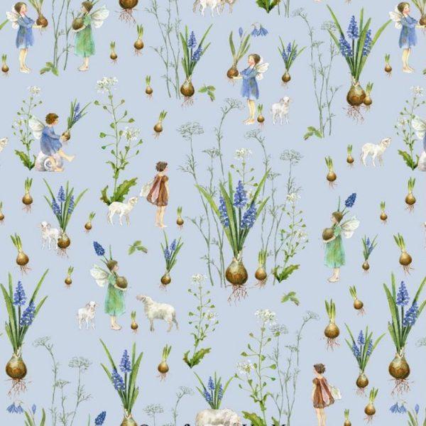Kleine Elfen pflanzen Frühlingsblumen .Zauberhafter Baumwollstoff von Acufactum